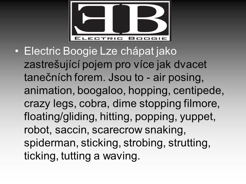 Electric Boogie Lze chápat jako zastrešující pojem pro více jak dvacet tanečních forem. Jsou to - air posing, animation, boogaloo, hopping, centipede,