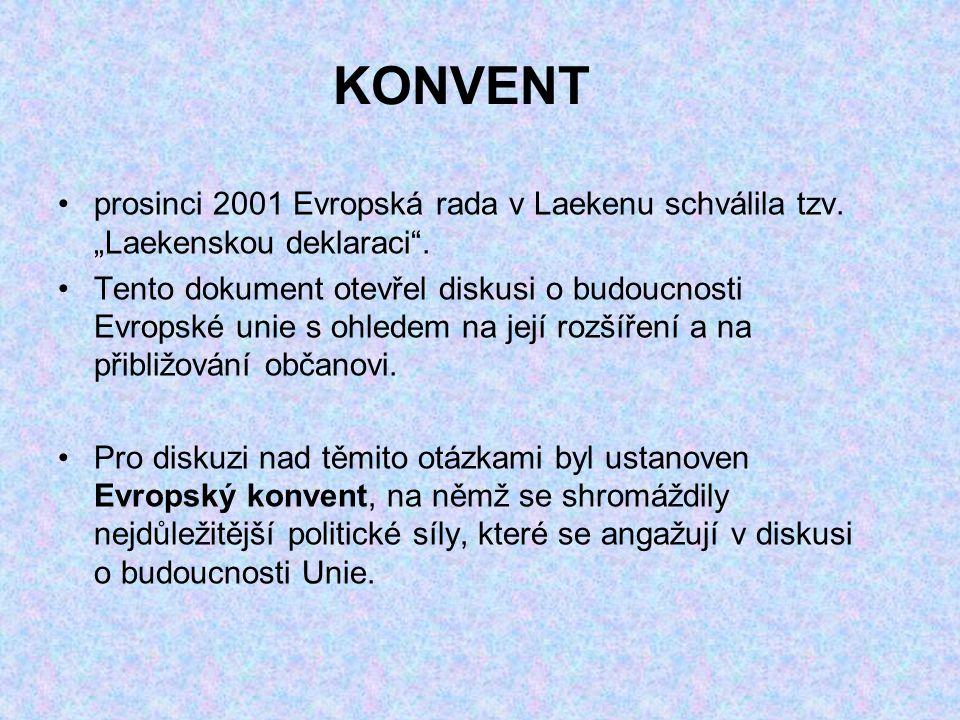 """KONVENT prosinci 2001 Evropská rada v Laekenu schválila tzv. """"Laekenskou deklaraci"""". Tento dokument otevřel diskusi o budoucnosti Evropské unie s ohle"""