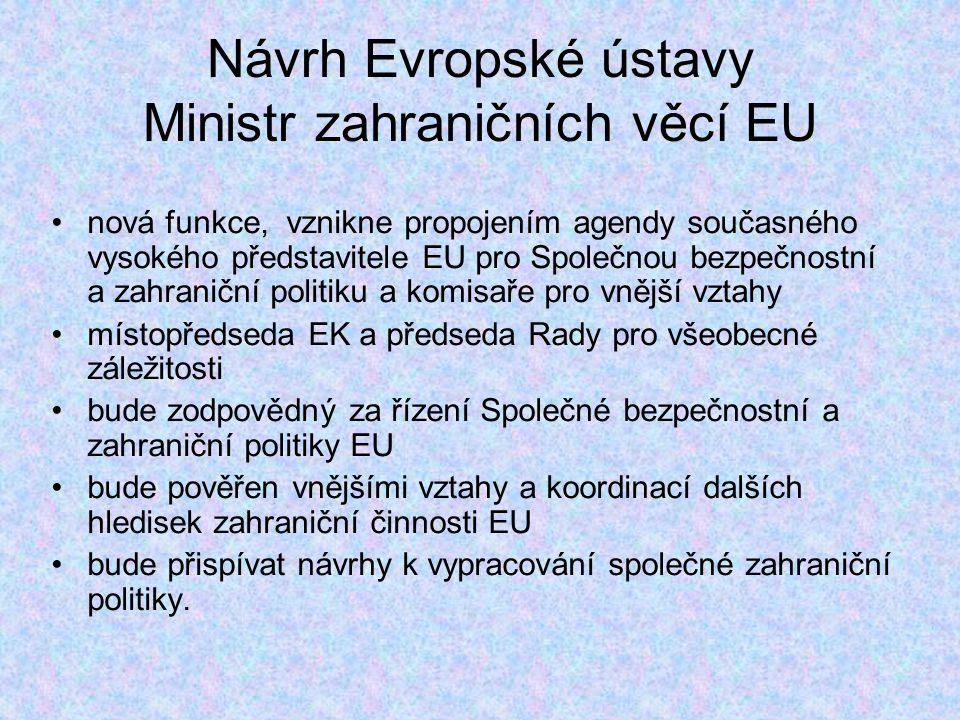 Návrh Evropské ústavy Ministr zahraničních věcí EU nová funkce, vznikne propojením agendy současného vysokého představitele EU pro Společnou bezpečnostní a zahraniční politiku a komisaře pro vnější vztahy místopředseda EK a předseda Rady pro všeobecné záležitosti bude zodpovědný za řízení Společné bezpečnostní a zahraniční politiky EU bude pověřen vnějšími vztahy a koordinací dalších hledisek zahraniční činnosti EU bude přispívat návrhy k vypracování společné zahraniční politiky.