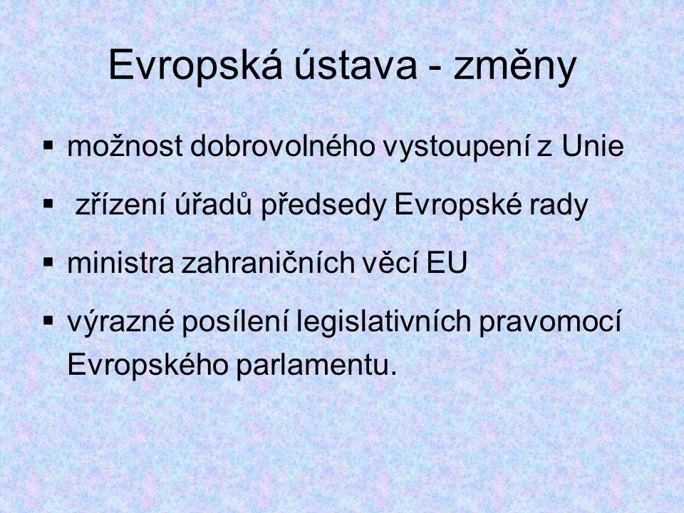 Evropská ústava - změny  možnost dobrovolného vystoupení z Unie  zřízení úřadů předsedy Evropské rady  ministra zahraničních věcí EU  výrazné posílení legislativních pravomocí Evropského parlamentu.