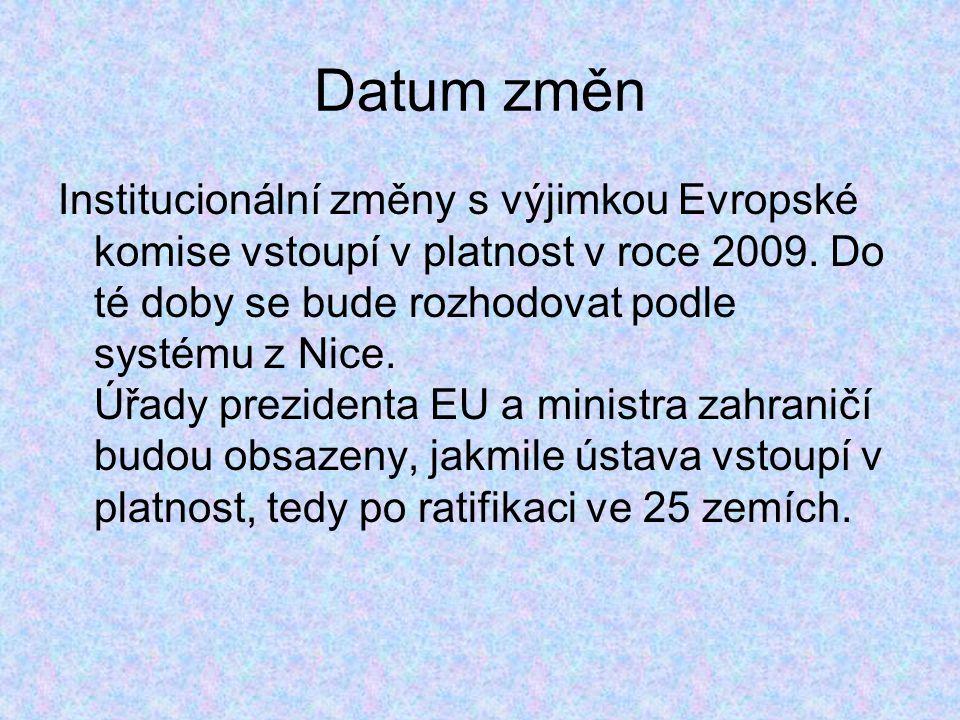 Datum změn Institucionální změny s výjimkou Evropské komise vstoupí v platnost v roce 2009.