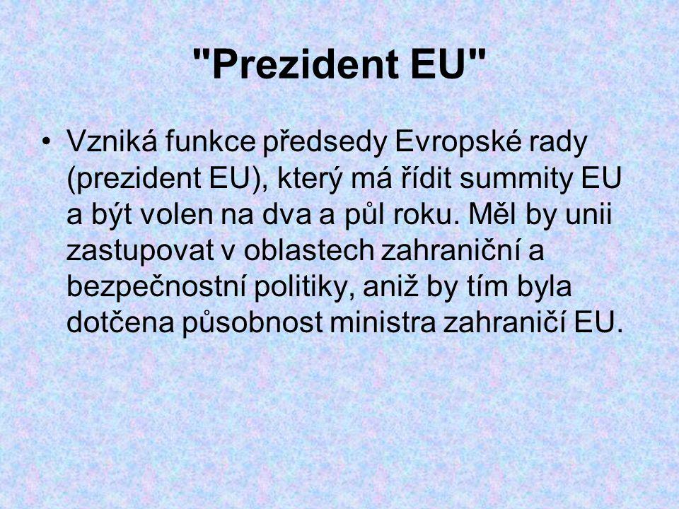 Prezident EU Vzniká funkce předsedy Evropské rady (prezident EU), který má řídit summity EU a být volen na dva a půl roku.