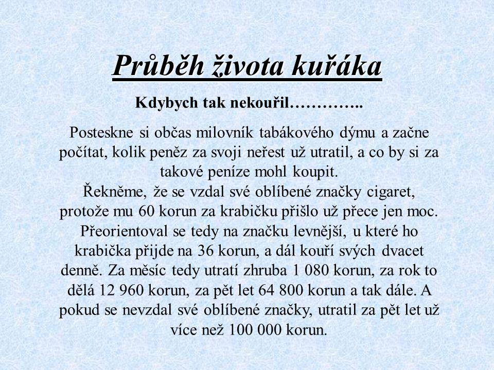 Průběh života kuřáka Kdybych tak nekouřil………….. Posteskne si občas milovník tabákového dýmu a začne počítat, kolik peněz za svoji neřest už utratil, a