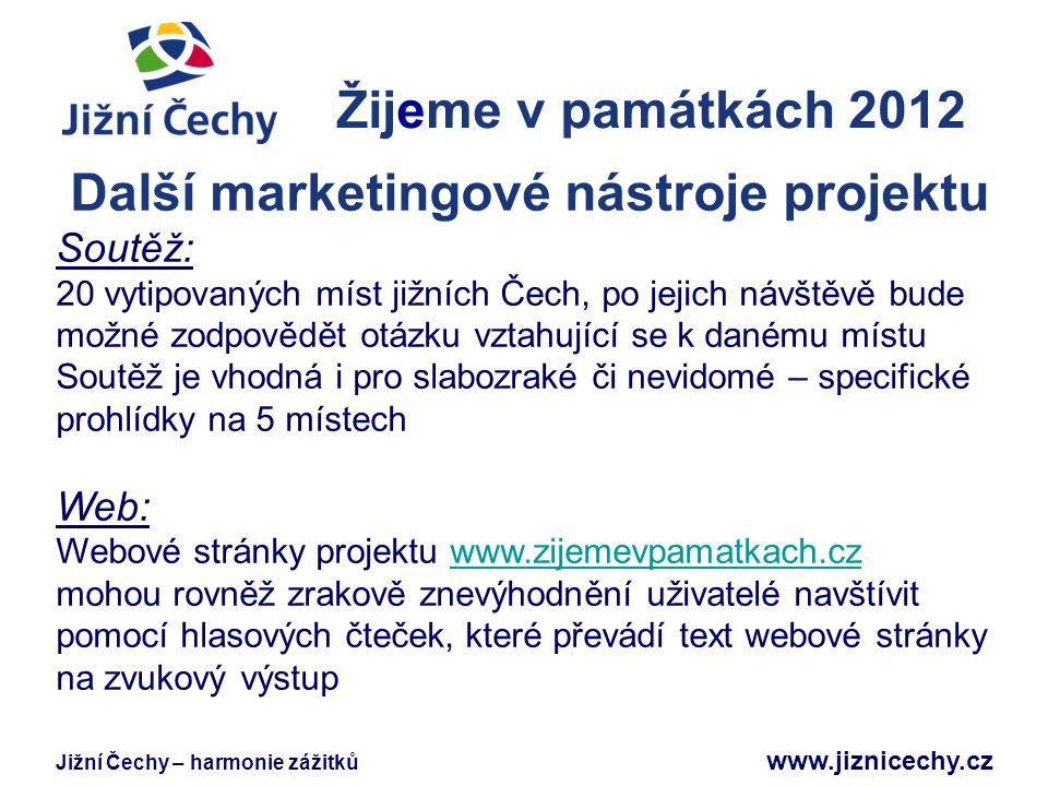 Jižní Čechy – harmonie zážitků www.jiznicechy.cz Žijeme v památkách 2012 Jižní Čechy Další marketingové nástroje projektu Soutěž: 20 vytipovaných míst