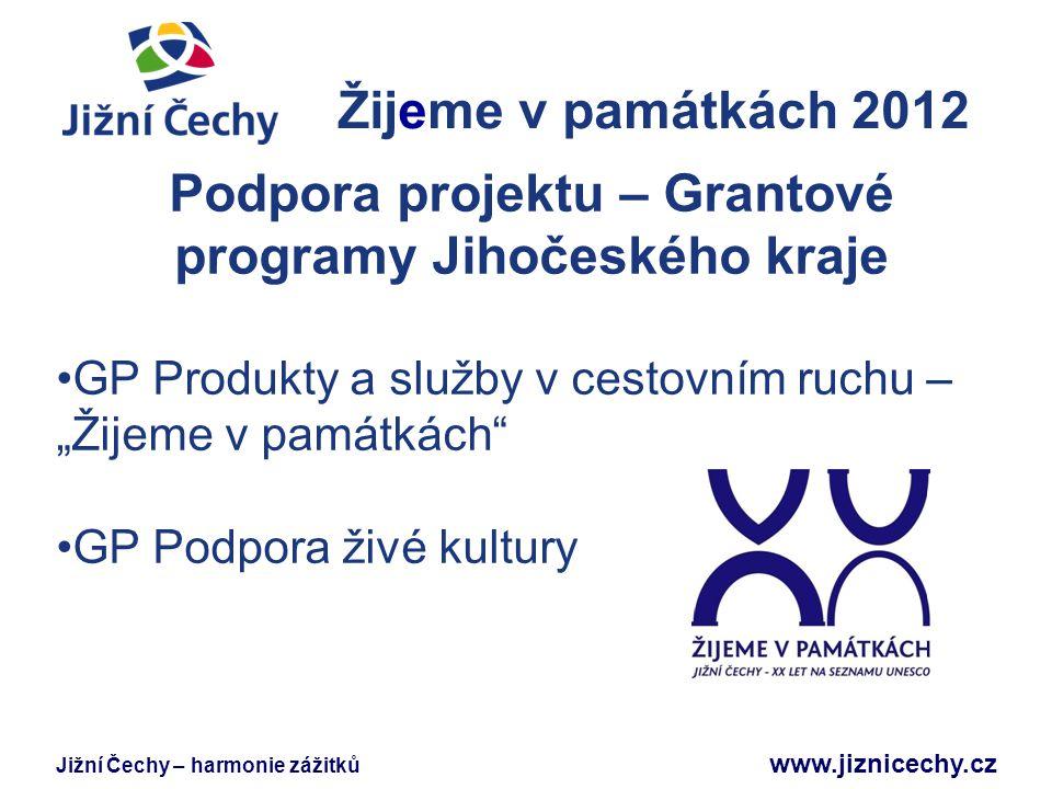 Jižní Čechy – harmonie zážitků www.jiznicechy.cz Žijeme v památkách 2012 Jižní Čechy Podpora projektu – Grantové programy Jihočeského kraje GP Produkt