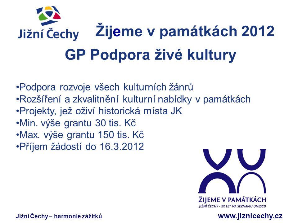 Jižní Čechy – harmonie zážitků www.jiznicechy.cz Žijeme v památkách 2012 Jižní Čechy GP Podpora živé kultury Podpora rozvoje všech kulturních žánrů Ro