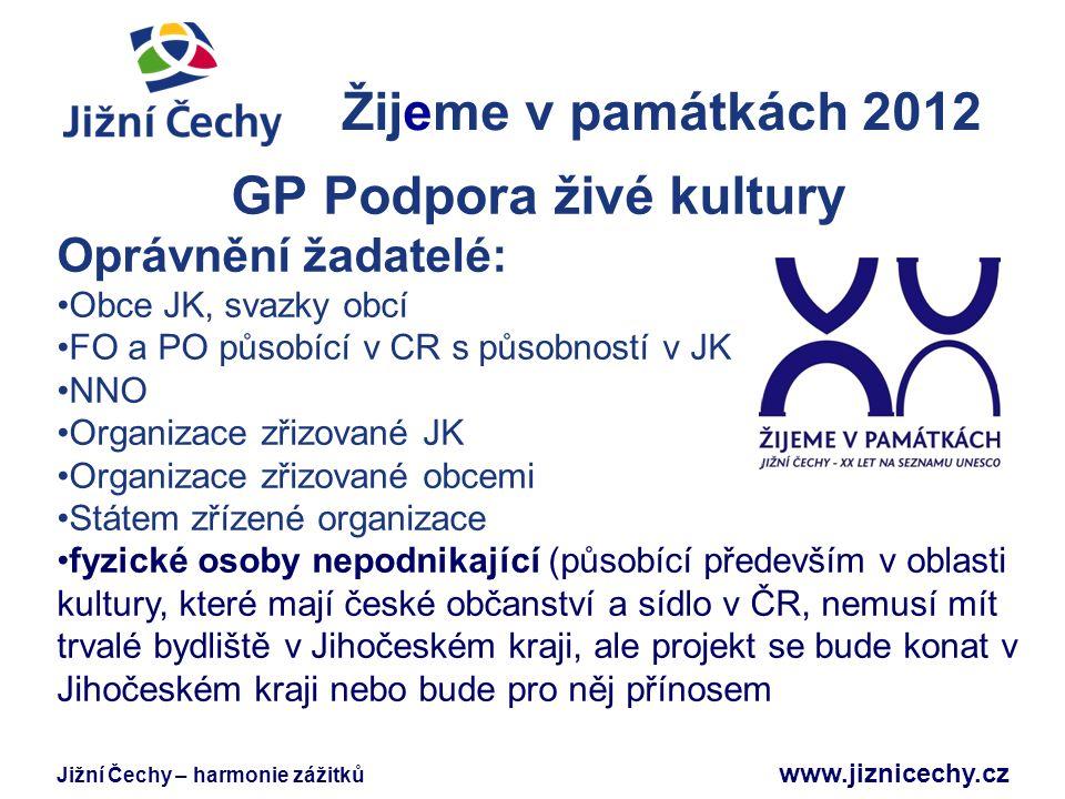 Jižní Čechy – harmonie zážitků www.jiznicechy.cz Žijeme v památkách 2012 Jižní Čechy GP Podpora živé kultury Oprávnění žadatelé: Obce JK, svazky obcí