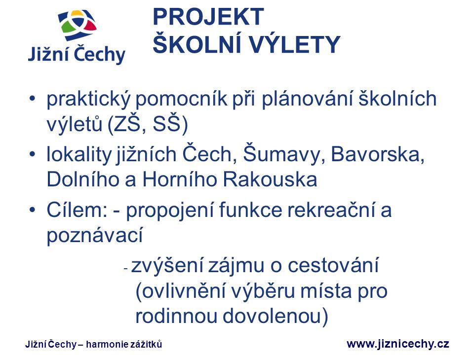 Jižní Čechy – harmonie zážitků www.jiznicechy.cz PROJEKT ŠKOLNÍ VÝLETY praktický pomocník při plánování školních výletů (ZŠ, SŠ) lokality jižních Čech