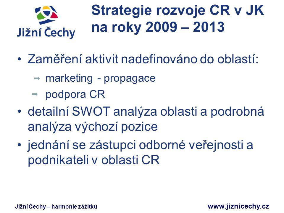 Jižní Čechy – harmonie zážitků www.jiznicechy.cz Strategie rozvoje CR v JK na roky 2009 – 2013 Výstupem strategie jsou aktivity zaměřené na: zvýšení informovanosti o JČ partnerství marketing infrastruktura lidský kapitál legislativa