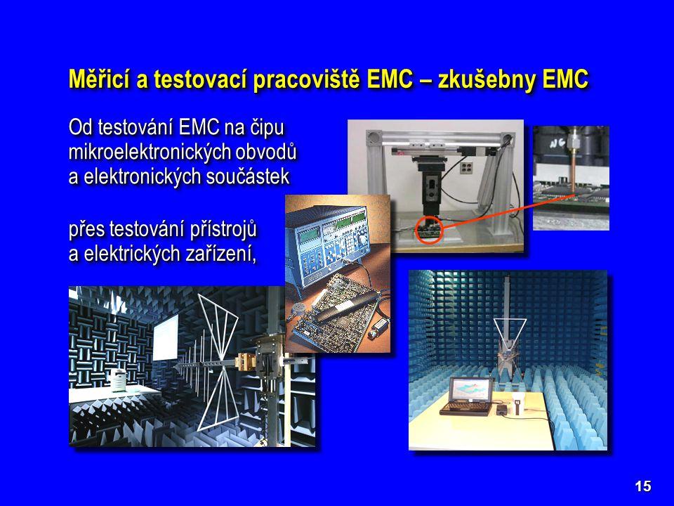 15 Měřicí a testovací pracoviště EMC – zkušebny EMC Od testování EMC na čipu mikroelektronických obvodů a elektronických součástek Od testování EMC na