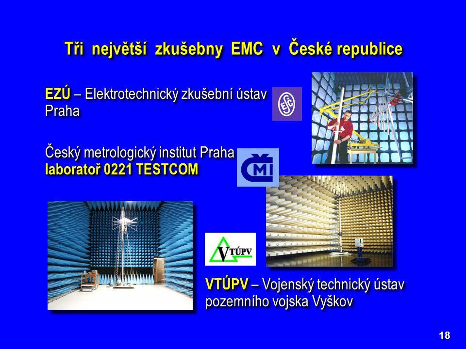 18 Tři největší zkušebny EMC v České republice EZÚ – Elektrotechnický zkušební ústav Praha Český metrologický institut Praha – laboratoř 0221 TESTCOM