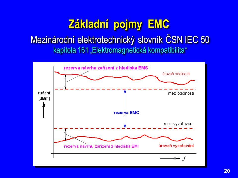 """20 Základní pojmy EMC Mezinárodní elektrotechnický slovník ČSN IEC 50 kapitola 161 """"Elektromagnetická kompatibilita"""" Mezinárodní elektrotechnický slov"""