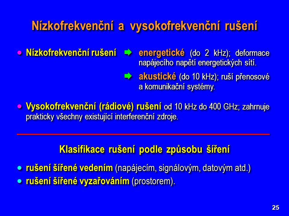 25 Nízkofrekvenční a vysokofrekvenční rušení  Nízkofrekvenční rušení  energetické (do 2 kHz); deformace napájecího napětí energetických sítí.  akus