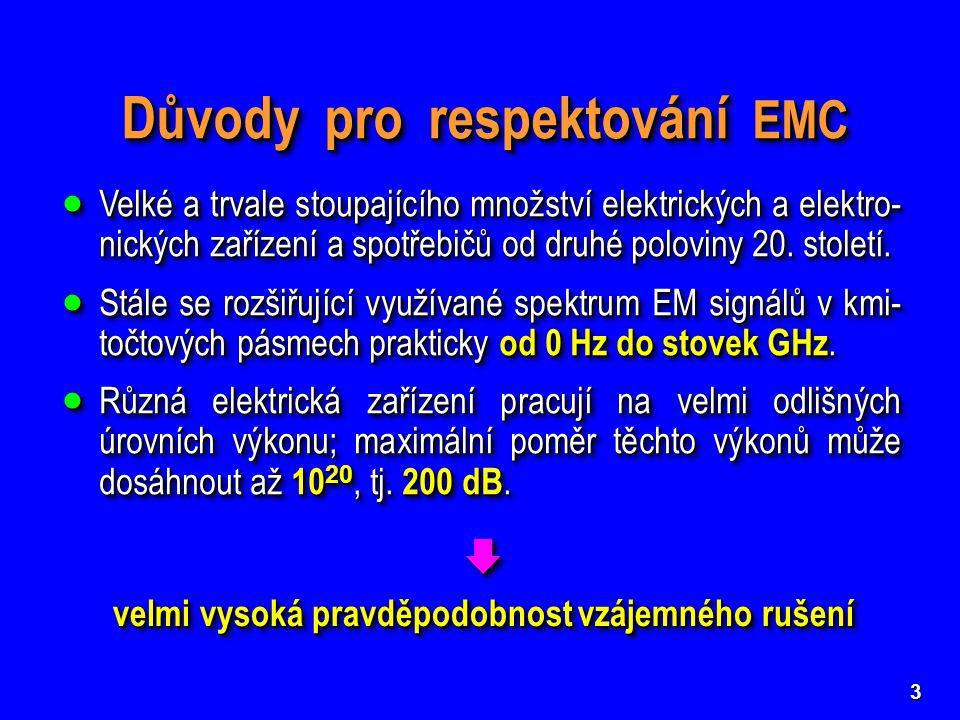 3 Důvody pro respektování EMC  Velké a trvale stoupajícího množství elektrických a elektro- nických zařízení a spotřebičů od druhé poloviny 20. stole