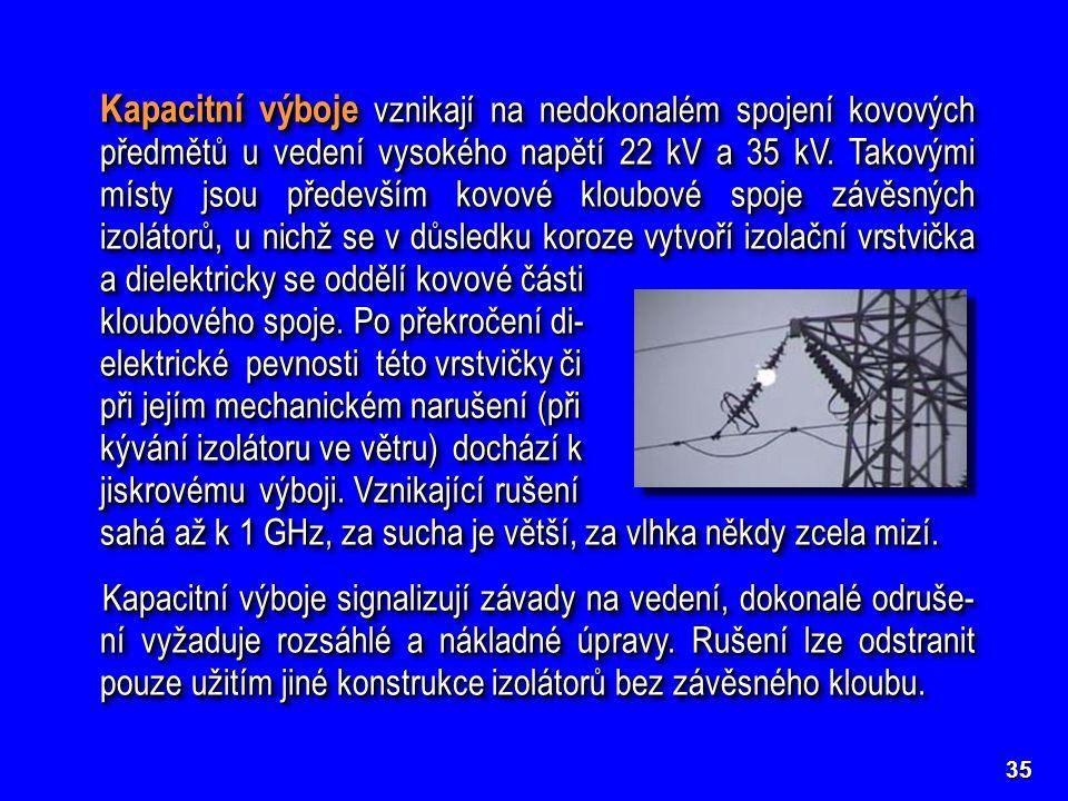 Kapacitní výboje vznikají na nedokonalém spojení kovových předmětů u vedení vysokého napětí 22 kV a 35 kV. Takovými místy jsou především kovové kloubo