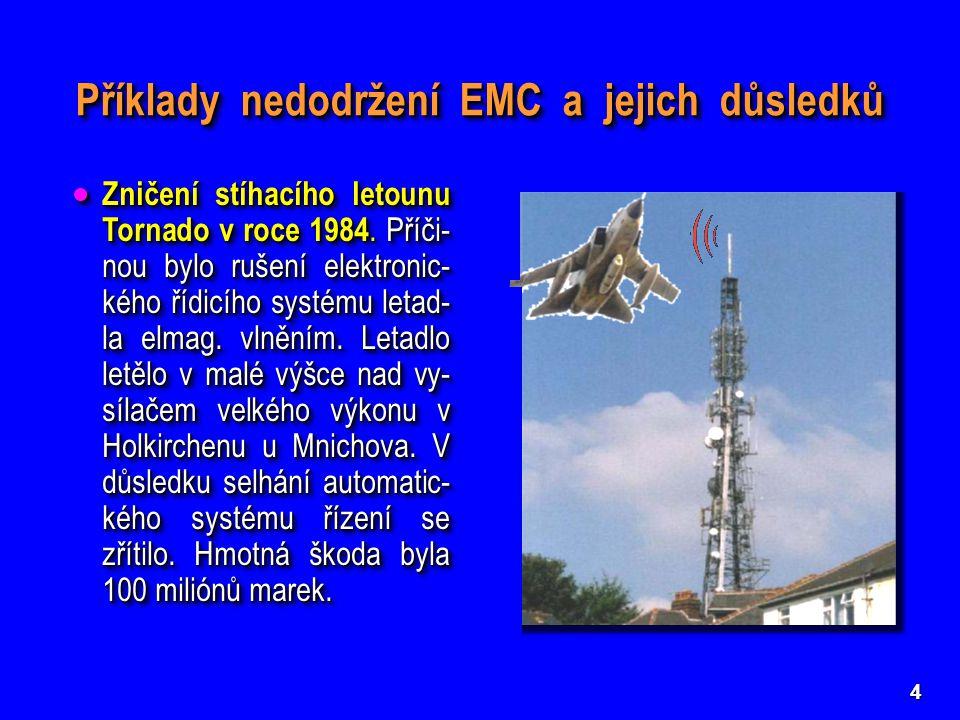 4  Zničení stíhacího letounu Tornado v roce 1984. Příči- nou bylo rušení elektronic- kého řídicího systému letad- la elmag. vlněním. Letadlo letělo v