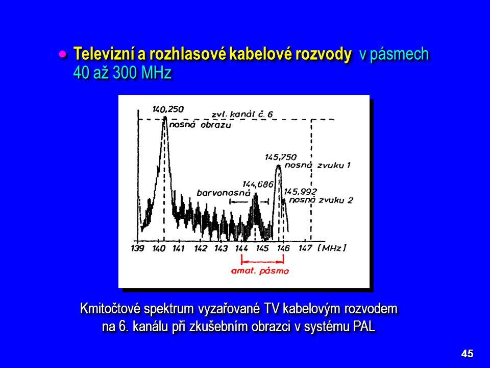 45  Televizní a rozhlasové kabelové rozvody v pásmech 40 až 300 MHz Kmitočtové spektrum vyzařované TV kabelovým rozvodem na 6. kanálu při zkušebním o