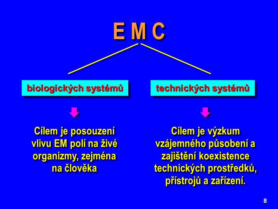 8 E M C biologických systémů technických systémů  Cílem je posouzení vlivu EM polí na živé organizmy, zejména na člověka   Cílem je výzkum vzájemné