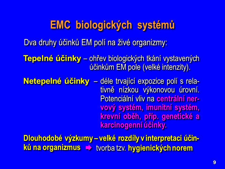 9 EMC biologických systémů Tepelné účinky – ohřev biologických tkání vystavených účinkům EM pole (velké intenzity). Netepelné účinky –déle trvající ex