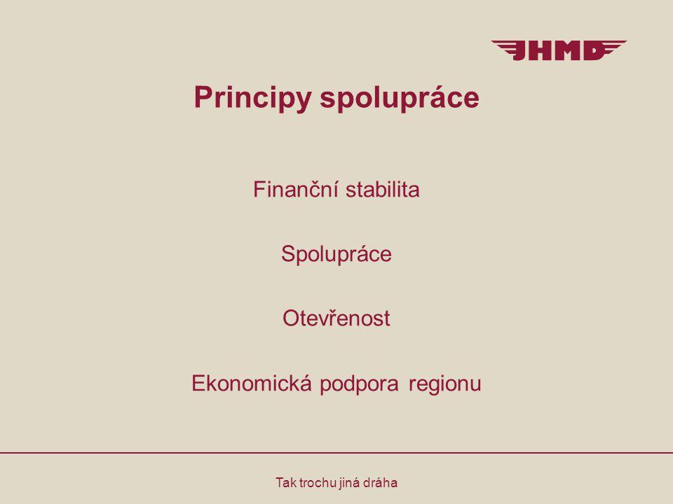 Principy spolupráce Tak trochu jiná dráha Finanční stabilita Spolupráce Otevřenost Ekonomická podpora regionu