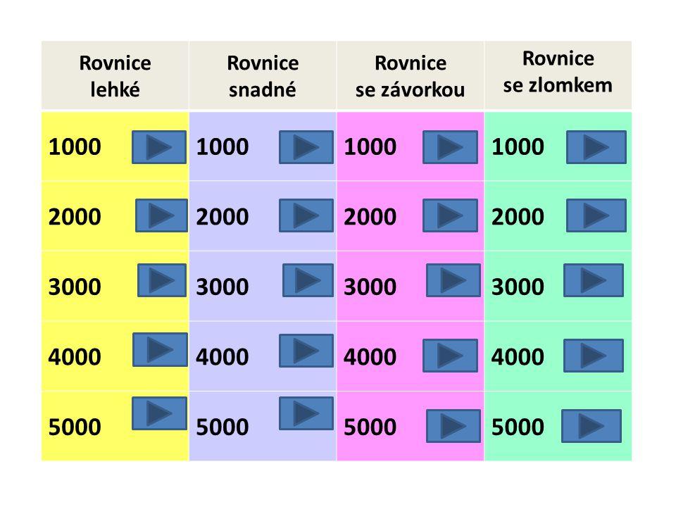 Rovnice lehké Rovnice snadné Rovnice se závorkou Rovnice se zlomkem 1000 2000 3000 4000 5000