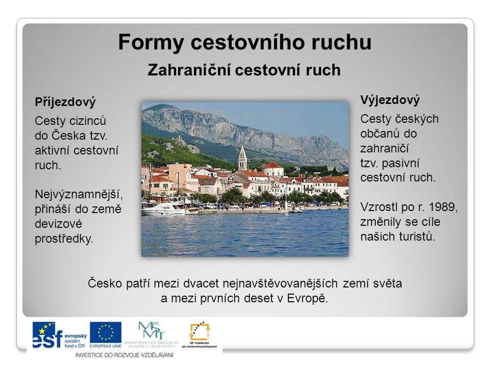 Formy cestovního ruchu Příjezdový Cesty cizinců do Česka tzv.