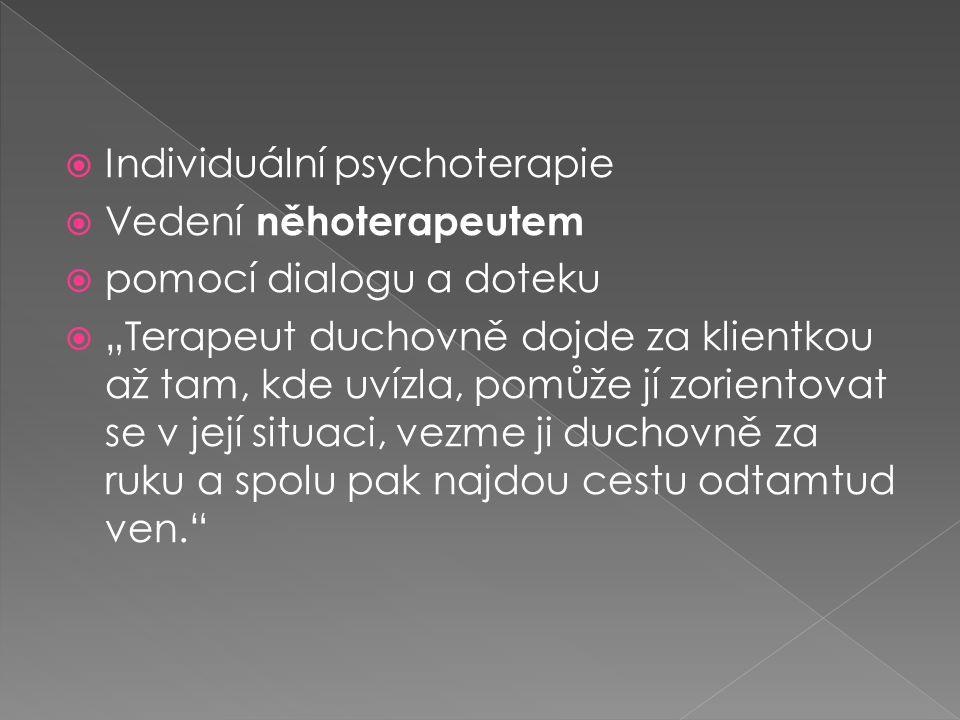 """ Individuální psychoterapie  Vedení něhoterapeutem  pomocí dialogu a doteku  """"Terapeut duchovně dojde za klientkou až tam, kde uvízla, pomůže jí zorientovat se v její situaci, vezme ji duchovně za ruku a spolu pak najdou cestu odtamtud ven."""