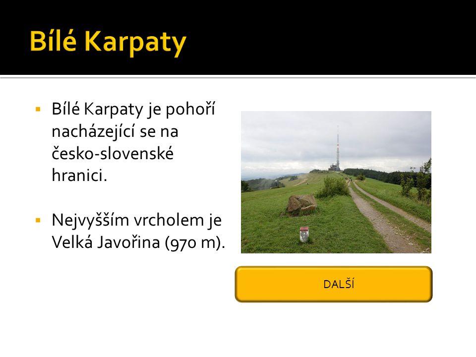  Bílé Karpaty je pohoří nacházející se na česko-slovenské hranici.  Nejvyšším vrcholem je Velká Javořina (970 m). DALŠÍ
