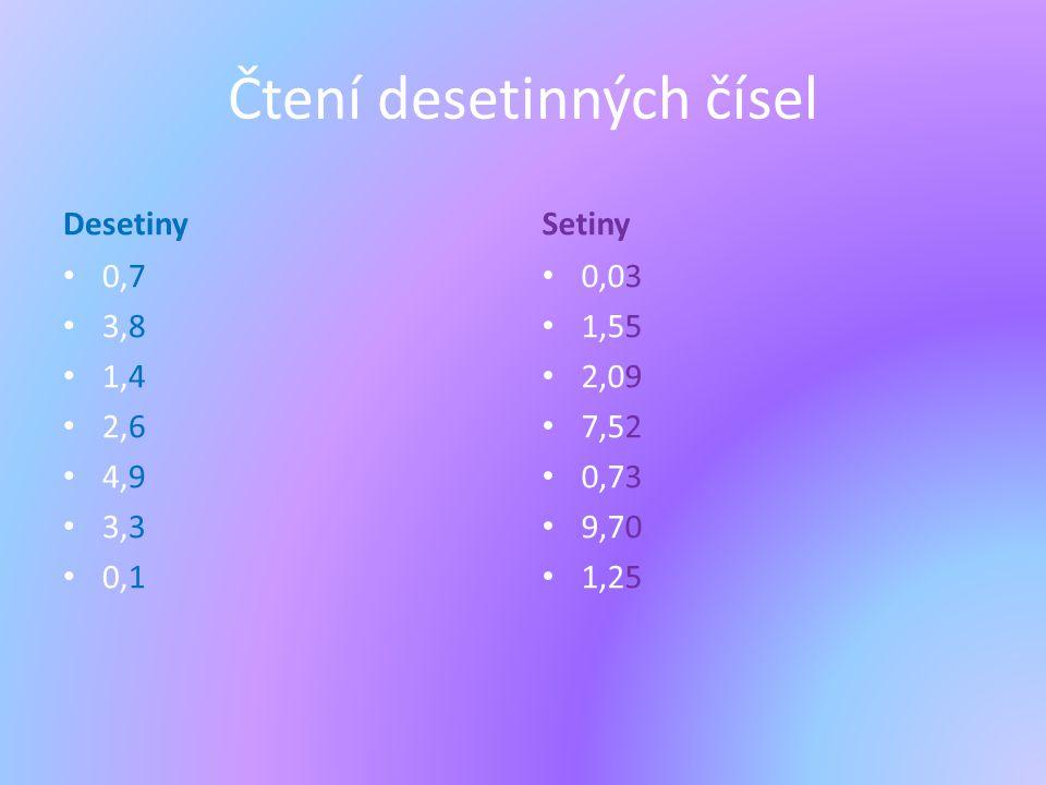 Čtení desetinných čísel Desetiny 0,7 3,8 1,4 2,6 4,9 3,3 0,1 Setiny 0,03 1,55 2,09 7,52 0,73 9,70 1,25