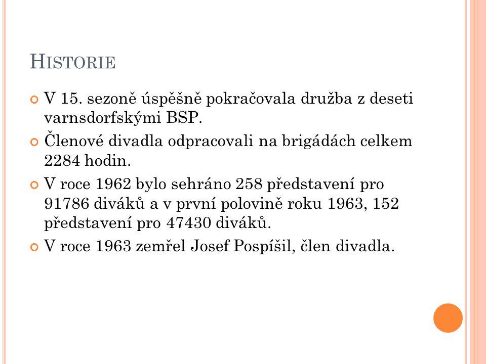 H ISTORIE V 15. sezoně úspěšně pokračovala družba z deseti varnsdorfskými BSP. Členové divadla odpracovali na brigádách celkem 2284 hodin. V roce 1962