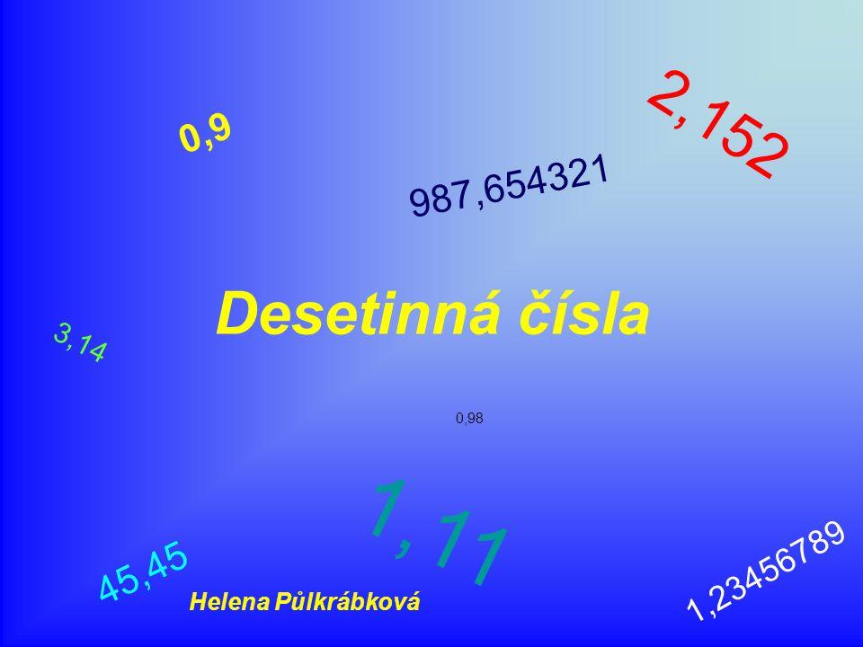 Desetinná čísla 0, 9 2, 1 5 2 1, 2 3 4 5 6 7 8 9 0,98 4 5, 4 5 1, 1 1 3, 1 4 9 8 7, 6 5 4 3 2 1 Helena Půlkrábková