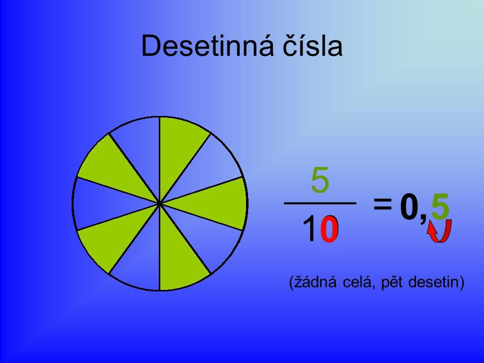 Desetinná čísla 5 = 10 5,0 0 (žádná celá, pět desetin)