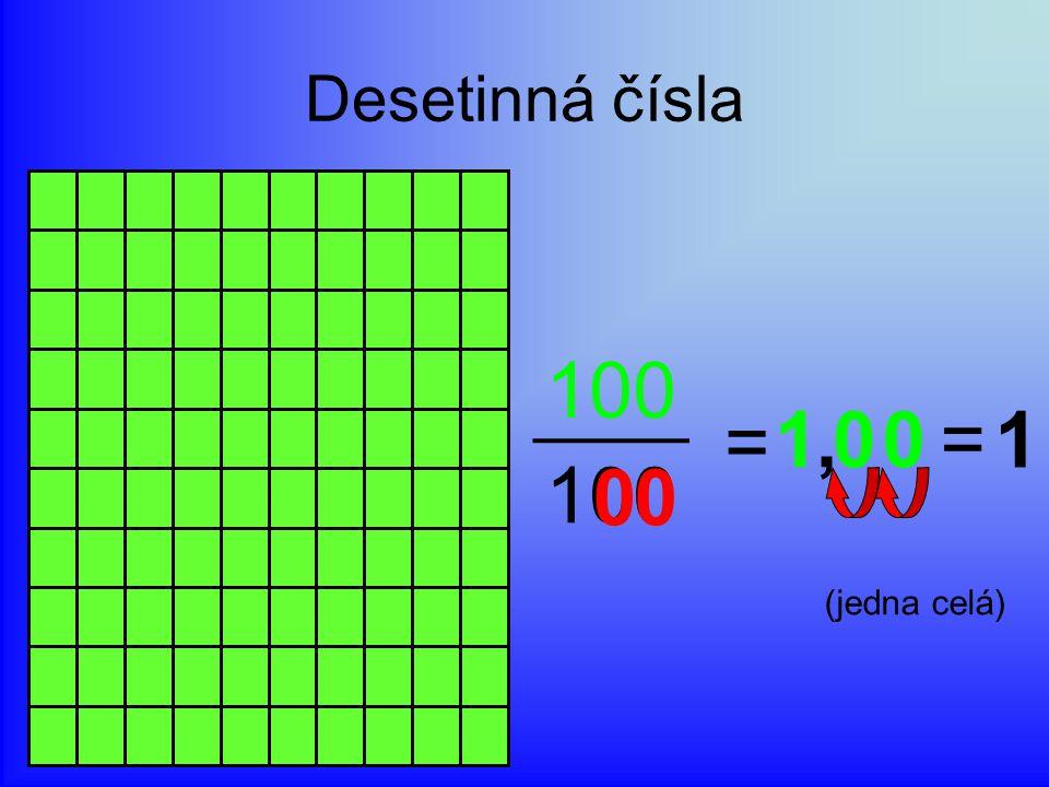 Desetinná čísla 100 = 0 00 10, 1= (jedna celá)