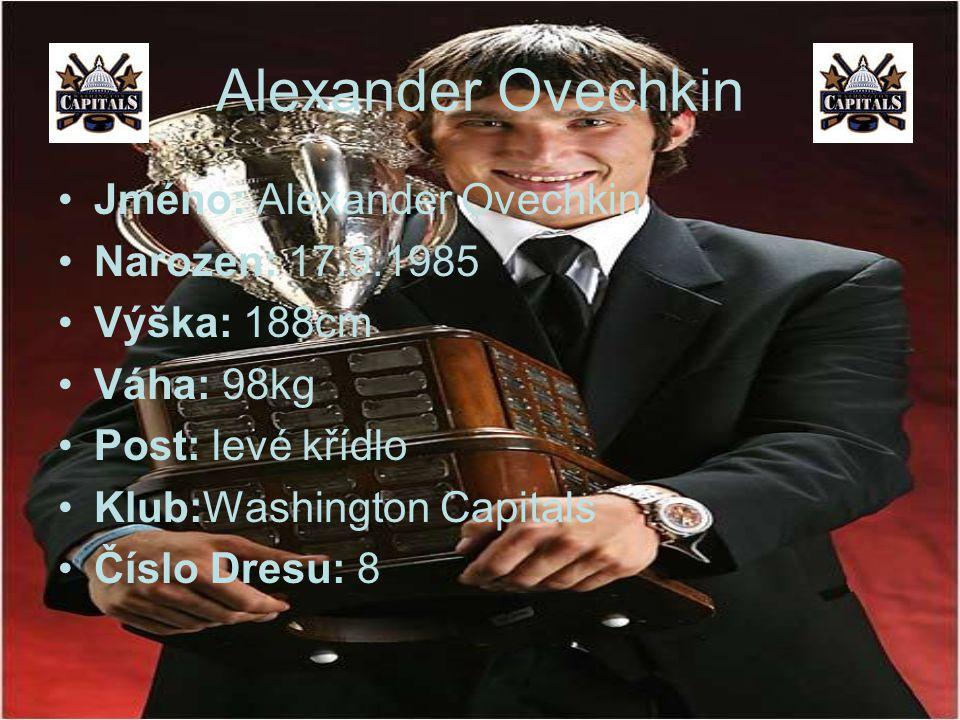 Alexander Ovechkin Jméno: Alexander Ovechkin Narozen: 17.9.1985 Výška: 188cm Váha: 98kg Post: levé křídlo Klub:Washington Capitals Číslo Dresu: 8