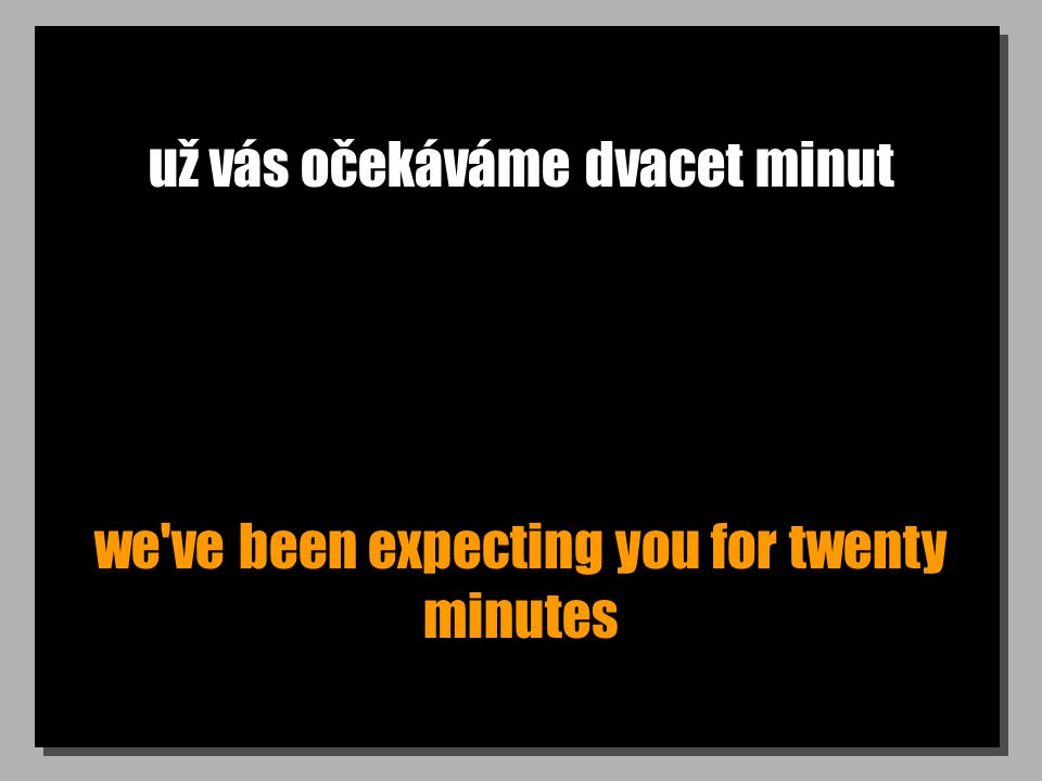 už vás očekáváme dvacet minut we've been expecting you for twenty minutes