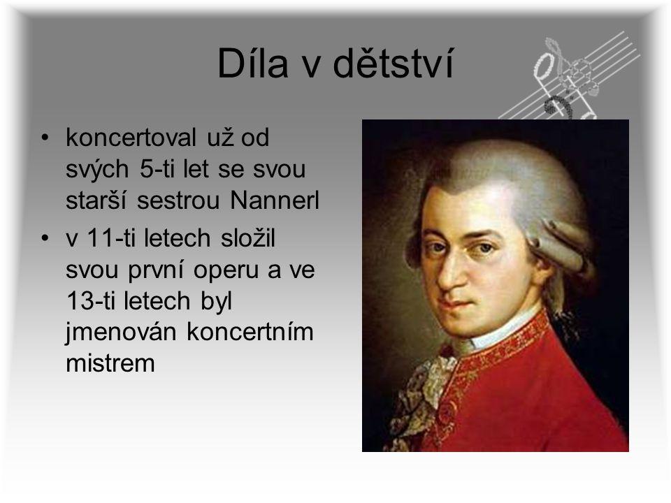 Díla v dětství koncertoval už od svých 5-ti let se svou starší sestrou Nannerl v 11-ti letech složil svou první operu a ve 13-ti letech byl jmenován k
