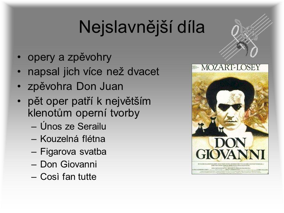 Nejslavnější díla opery a zpěvohry napsal jich více než dvacet zpěvohra Don Juan pět oper patří k největším klenotům operní tvorby –Únos ze Serailu –K