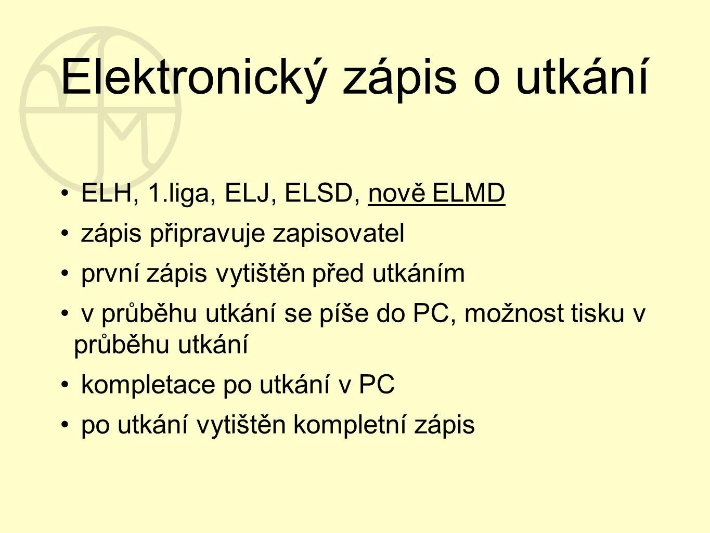Elektronický zápis o utkání ELH, 1.liga, ELJ, ELSD, nově ELMD zápis připravuje zapisovatel první zápis vytištěn před utkáním v průběhu utkání se píše