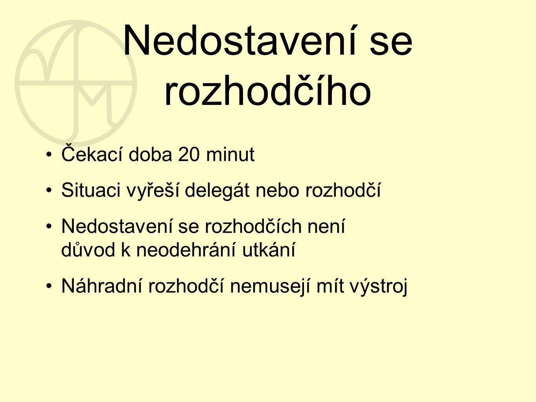 Nedostavení se rozhodčího Čekací doba 20 minut Situaci vyřeší delegát nebo rozhodčí Nedostavení se rozhodčích není důvod k neodehrání utkání Náhradní