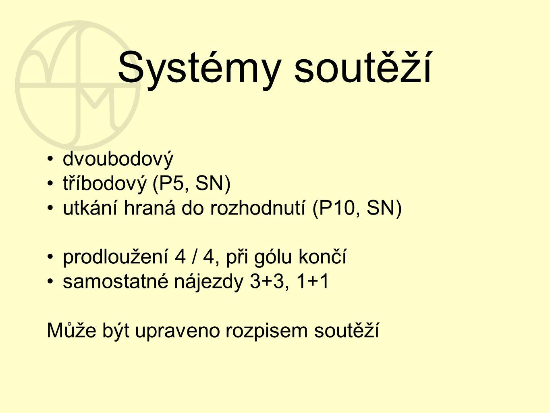 Systémy soutěží dvoubodový tříbodový (P5, SN) utkání hraná do rozhodnutí (P10, SN) prodloužení 4 / 4, při gólu končí samostatné nájezdy 3+3, 1+1 Může