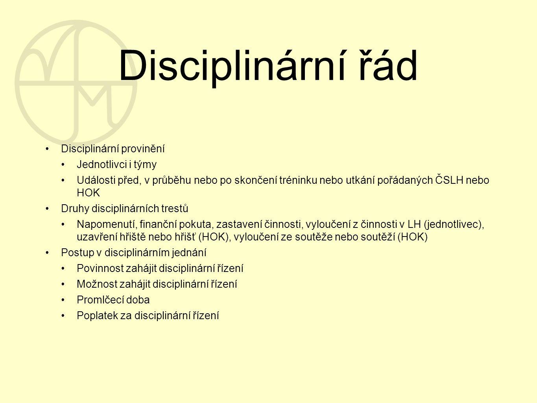 Disciplinární řád Disciplinární provinění Jednotlivci i týmy Události před, v průběhu nebo po skončení tréninku nebo utkání pořádaných ČSLH nebo HOK D
