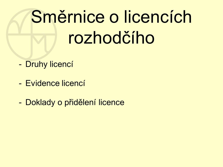 Směrnice o licencích rozhodčího -Druhy licencí -Evidence licencí -Doklady o přidělení licence