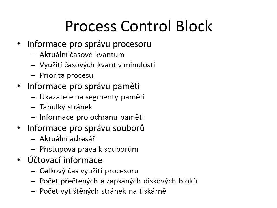 Process Control Block Informace pro správu procesoru – Aktuální časové kvantum – Využití časových kvant v minulosti – Priorita procesu Informace pro s