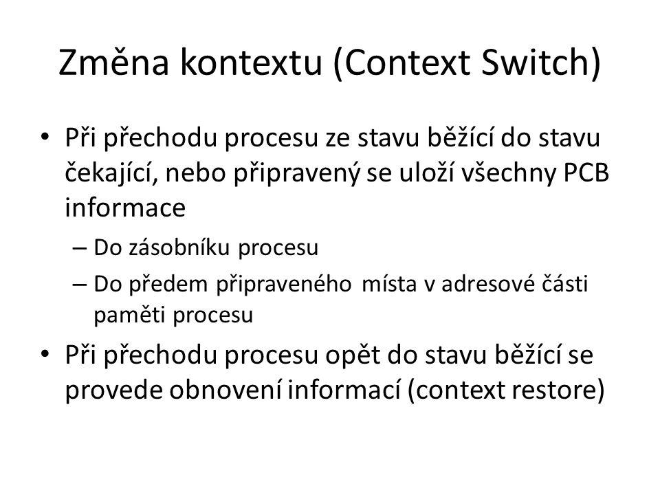 Změna kontextu (Context Switch) Při přechodu procesu ze stavu běžící do stavu čekající, nebo připravený se uloží všechny PCB informace – Do zásobníku