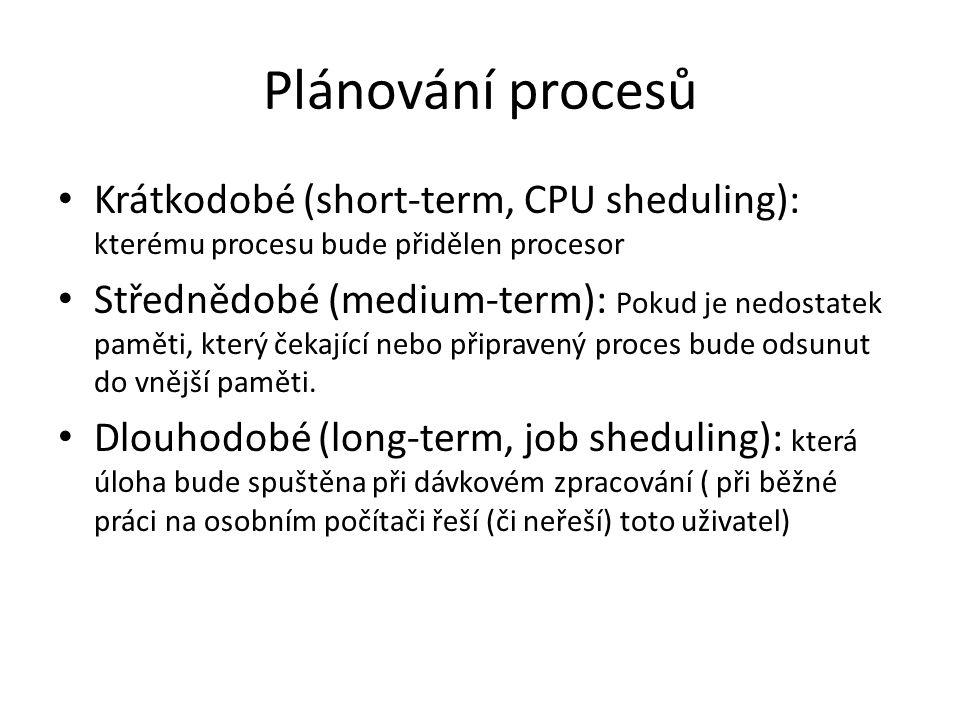 Plánování procesů Krátkodobé (short-term, CPU sheduling): kterému procesu bude přidělen procesor Střednědobé (medium-term): Pokud je nedostatek paměti