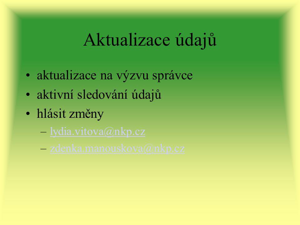 Aktualizace údajů aktualizace na výzvu správce aktivní sledování údajů hlásit změny –lydia.vitova@nkp.czlydia.vitova@nkp.cz –zdenka.manouskova@nkp.czzdenka.manouskova@nkp.cz