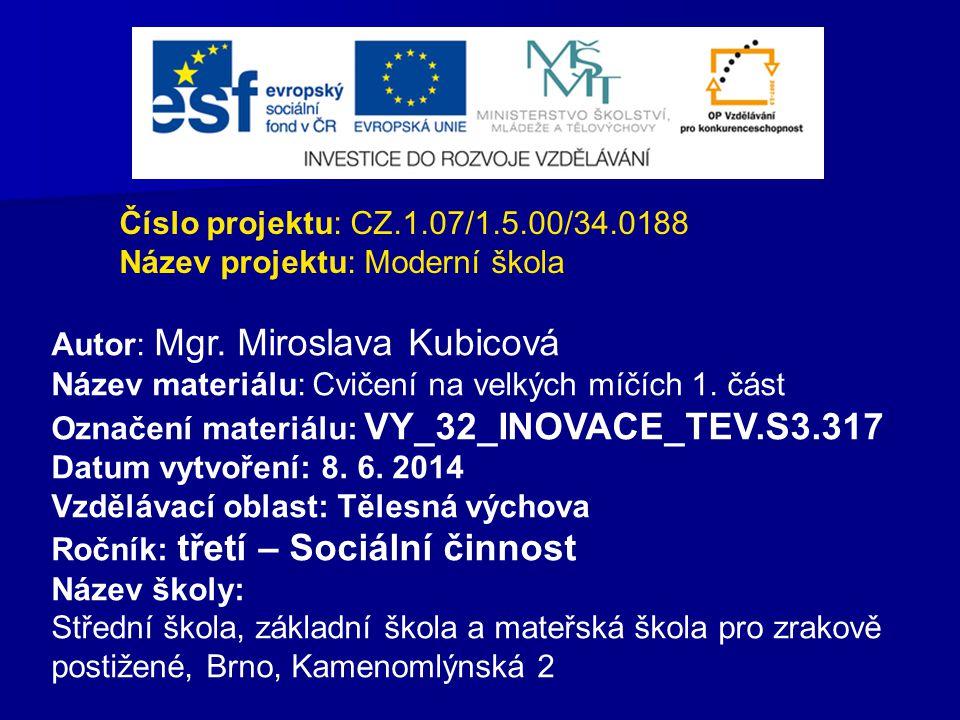 Číslo projektu: CZ.1.07/1.5.00/34.0188 Název projektu: Moderní škola Autor: Mgr. Miroslava Kubicová Název materiálu: Cvičení na velkých míčích 1. část