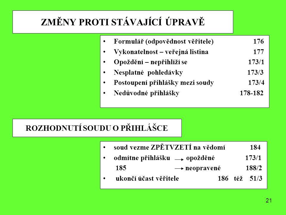 21 ZMĚNY PROTI STÁVAJÍCÍ ÚPRAVĚ Formulář (odpovědnost věřitele) 176 Vykonatelnost – veřejná listina 177 Opoždění – nepřihlíží se 173/1 Nesplatné pohle