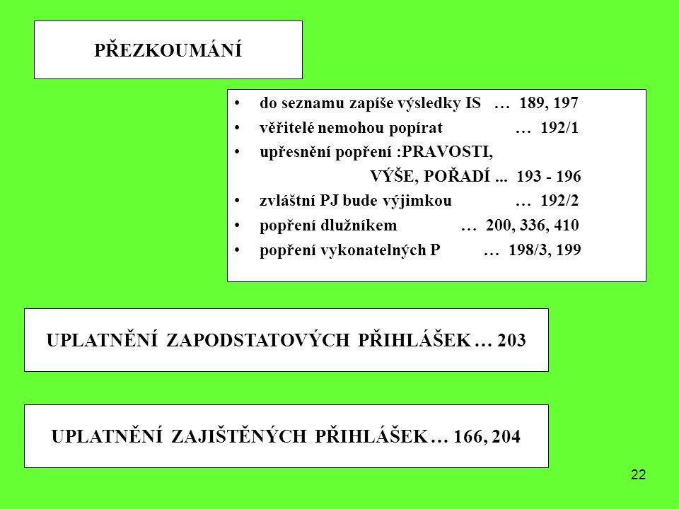 22 PŘEZKOUMÁNÍ do seznamu zapíše výsledky IS … 189, 197 věřitelé nemohou popírat … 192/1 upřesnění popření :PRAVOSTI, VÝŠE, POŘADÍ... 193 - 196 zvlášt
