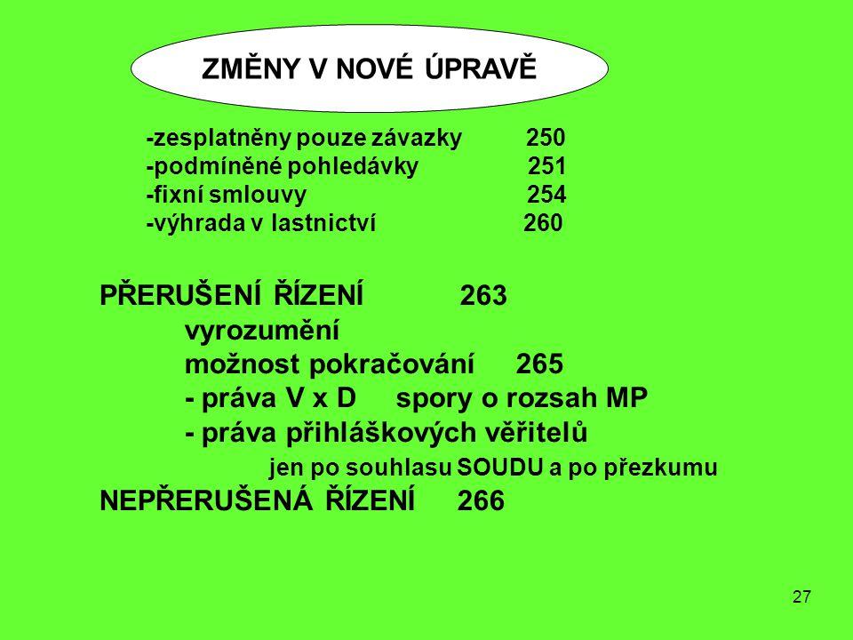 27 ZMĚNY V NOVÉ ÚPRAVĚ PŘERUŠENÍ ŘÍZENÍ 263 vyrozumění možnost pokračování 265 - práva V x D spory o rozsah MP - práva přihláškových věřitelů jen po s